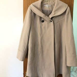 Larry Levine Coat Wool Blend Women's Sz 14 Beige